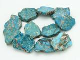 Aqua Terra Jasper Slab Gemstone Beads 39-46mm (GS4302)