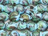 Blue & Green Swirls Lampwork Glass Beads 16mm (LW1581)