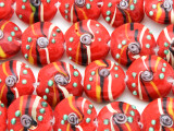 Red Striped Swirl Lampwork Glass Beads 18mm (LW1583)