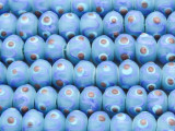 Blue & Purple w/Dots Lampwork Glass Beads 12mm (LW1585)