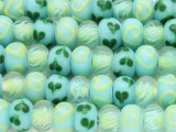 Blue & Clear w/Hearts Lampwork Glass Beads 13mm (LW1589)