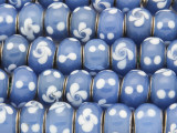 Blue w/White Dots & Flowers Glass Beads 13mm (LW1592)