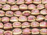 Melon 10-12mm - Glazed Pink Porcelain Beads (PO388)