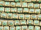 Cube 8-10mm - Glazed Olive Porcelain Beads (PO390)
