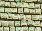Cube 8-10mm - Glazed Olive Porcelain Beads (PO390)