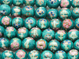 Round w/Flowers 10mm - Glazed Turquoise Porcelain Beads (PO403)