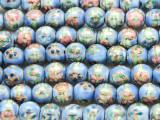 Round w/Flowers 7-9mm - Glazed Blue Porcelain Beads (PO406)