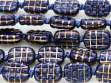 Rounded Rectangle 14mm - Glazed Blue Porcelain Beads (PO409)