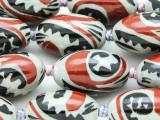 Oval Tribal Design 27mm - Glazed Porcelain Beads (PO411)