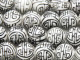 Round w/Black Design 15mm - Glazed White Porcelain Beads (PO414)