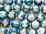 Round w/Flowers 12mm - Glazed Teal Porcelain Beads (PO415)