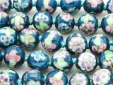 Round w/Flowers 12mm - Glazed Teal Porcelain Beads (PO415)