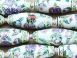 Tube w/Floral Design 36mm - Glazed White Porcelain Beads (PO416)