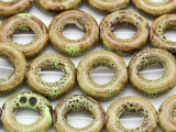 Ring 18mm - Glazed Olive Porcelain Beads (PO417)
