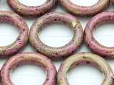 Ring 29mm - Glazed Pink Porcelain Beads (PO418)