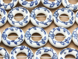 Ring w/Flowers  18mm - Glazed Blue & White Porcelain Beads (PO419)