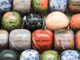 Assorted Barrel & Round Gemstone Beads 12-18mm (GS4349)