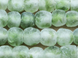 Lime Green & Clear Recycled Glass Beads 12-15mm - Africa (RG614)