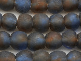 Blue & Brown Recycled Glass Beads 13-15mm - Africa (RG620)