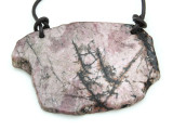 Rhodonite Gemstone Slab Pendant (GSP1795)