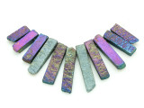 Jeweltone Electroplated Quartz Gemstone Pendants - Set of 11 (GSP1738)