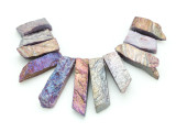Pastel Electroplated Quartz Gemstone Pendants - Set of 11 (GSP1768)