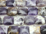 Chevron Amethyst Square Tabular Gemstone Beads 15mm (GS4387)