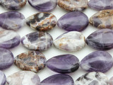 Cape Amethyst Teardrop Tabular Gemstone Beads 20mm (GS4389)