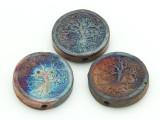 Tree of Life Raku Ceramic Bead 30mm - Peru (CER146)