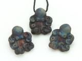 Octopus Raku Ceramic Pendant 26mm - Peru (CER151)