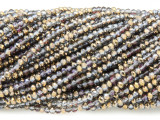 Copper & Smoky Gray Crystal Glass Beads 2mm (CRY411)
