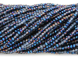 Blue Jeweltone & Clear Crystal Glass Beads 2mm (CRY414)