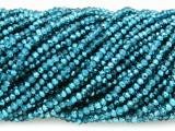 Metallic Aqua Crystal Glass Beads 2mm (CRY416)