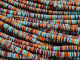 Blue, Orange & Maroon Vinyl Disc Beads 4mm (VY232)