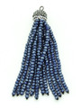 Blue Crystal Glass Beaded Tassel (CRY400)