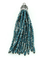 Teal & Clear Crystal Glass Beaded Tassel (CRY407)
