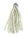 Ivory Crystal Glass Beaded Tassel (CRY409)