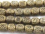 Ornate Cube Brass Beads 14-17mm - Ghana (ME5695)