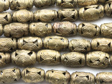 Ornate Barrel Brass Beads 18-20mm - Ghana (ME5697)