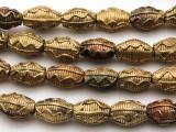 Ornate Oval Brass Beads 17-20mm - Ghana (ME5698)