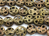 Ornate Round Tabular Brass Beads 16-20mm - Ghana (ME5700)