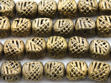 Ornate Cube Brass Beads 15-18mm - Ghana (ME5702)