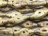 Ornate Oval Tabular Brass Beads 31-38mm - Ghana (ME5704)