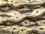 Ornate Oval Tabular Brass Beads 31-38mm - Ghana (ME5704)