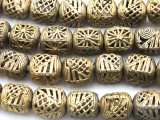 Ornate Cube Brass Beads 15-16mm - Ghana (ME5705)