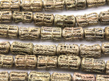 Ornate Cylinder Brass Beads 16-20mm - Ghana (ME5708)