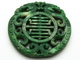Carved Jade Gemstone Pendant 68mm (GSP1834)
