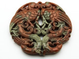 Carved Jade Gemstone Pendant 70mm (GSP1837)