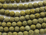Yellow-Green Round Lava Rock Beads 8mm (LAV148)