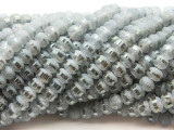Silver Gray Metallic Stripe Crystal Glass Beads 8mm (CRY450)